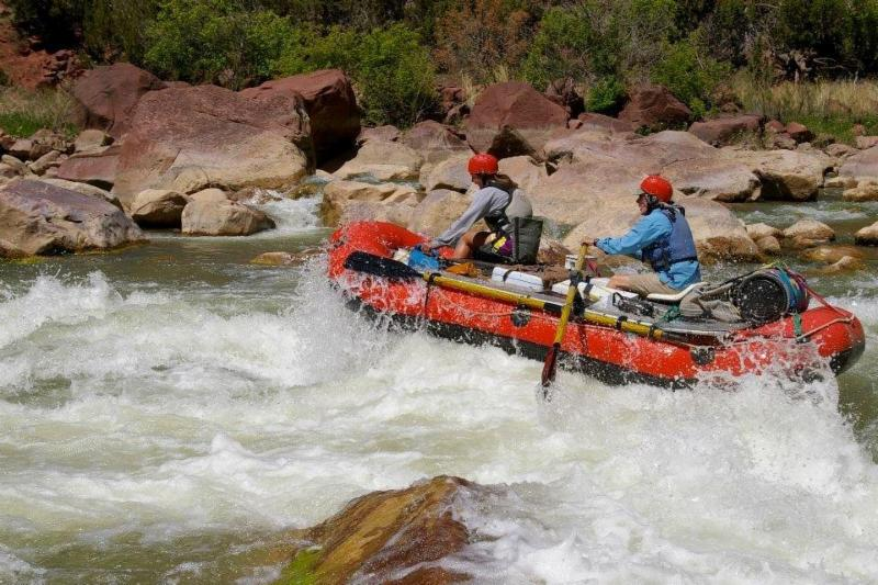 Professor Robert Glennon white-water rafting on a  section of the Green River in Utah called Gates of Lodore.
