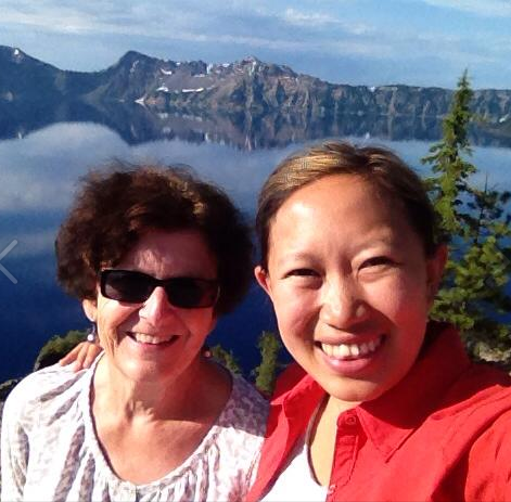Mary Guss, IPLP Staff Attorney, at Crater Lake, Oregon  with her friend Lyncy Yang.