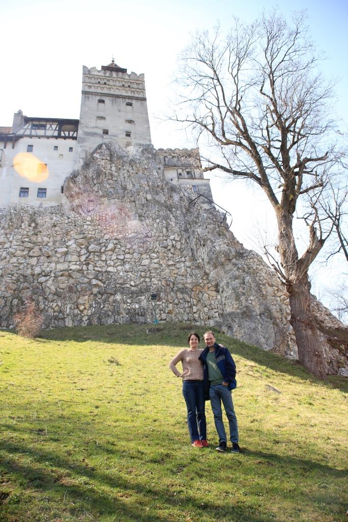Professors Jane and Derek Bambauer at Dracula's castle in Transylvania.